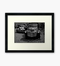 Two Old Trucks BW Framed Print