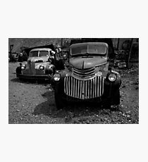 Two Old Trucks BW Photographic Print