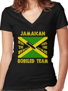 Jamaican Bobsled Team Women's Fitted V-Neck T-Shirt