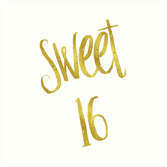 Quot Sweet 16 Gold Faux Foil Metallic Glitter Quote Isolated
