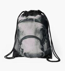 White Horse In Dark Background Drawstring Bag