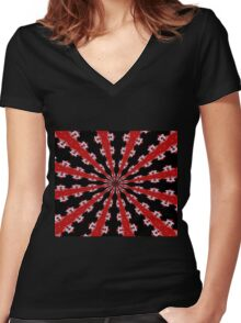 Red Black and White Abstract Women's Fitted V-Neck T-Shirt