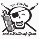 Pirate skull yo ho ho bottle of yarn crochet hooks by BigMRanch