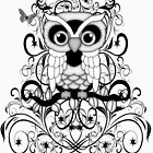 Black lace Owl .. tee shirt by LoneAngel