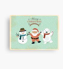 Retro Cute Christmas Characters Canvas Print