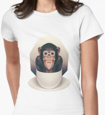 Caffeinimals: Monkey Womens Fitted T-Shirt