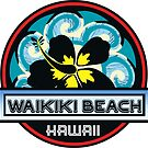 Waikiki Beach Hawaii Hibiscus Flower Wave Travel Vacation Decal by MyHandmadeSigns