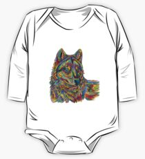 Colorful Psychedelic Rainbow Wolf One Piece - Long Sleeve