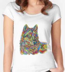 Colorful Psychedelic Rainbow Wolf Women's Fitted Scoop T-Shirt