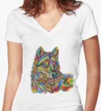 Colorful Psychedelic Rainbow Wolf Women's Fitted V-Neck T-Shirt