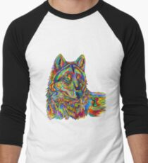 Colorful Psychedelic Rainbow Wolf Men's Baseball ¾ T-Shirt
