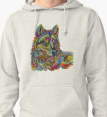 Colorful Psychedelic Rainbow Wolf Pullover Hoodie