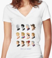 Who's Your Doctor? Women's Fitted V-Neck T-Shirt