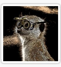 Steampunk Mongoose with Goggles and Attitude Sticker
