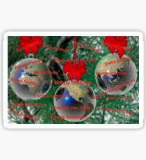 World Christmas card with greetings in many languages Sticker