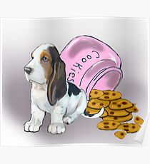 Basset Hound and Cookies Poster