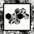 Honeycomb - Abstract in black and white by Printpix