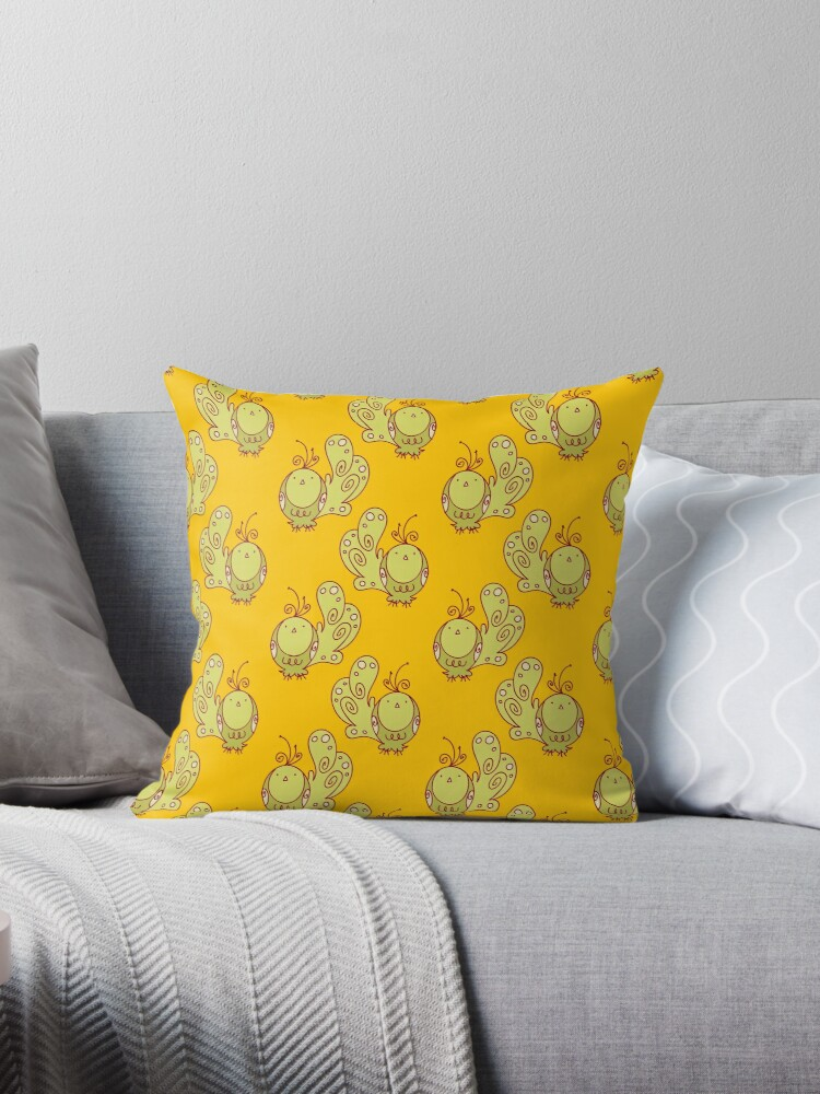 Yellow Bird Throw Pillows :