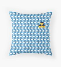 Blue & Orange Tiling Cubes Throw Pillow