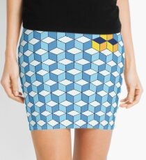 Blue & Orange Tiling Cubes Mini Skirt