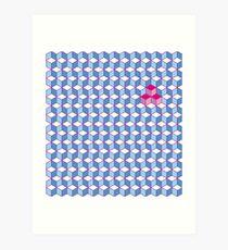 Blue & Pink Tiling Cubes Art Print