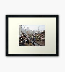 Banana docks, New York, ca. 1890-1910. Framed Print