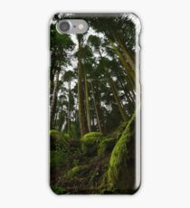 Landscape mossy rock and soaring pine trees iPhone Case/Skin
