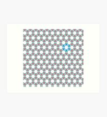 Tiling Tessellation In Green, Blue & Pink Art Print