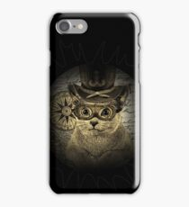 Cheeky Steampunk Cat with Goggles and Top Hat iPhone Case/Skin
