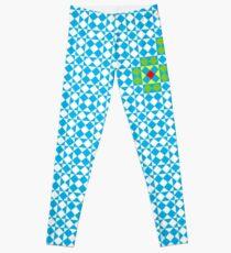 Tessellation tiling pattern in blue Leggings