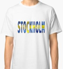 Stockholm Word With Flag Texture Classic T-Shirt
