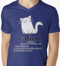 Camiseta para hombre de cuello en v Cat-ion science puns