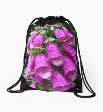 Purple Foxglove Drawstring Bag