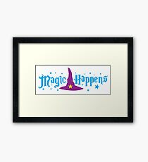 Magic Happens with witches hat Framed Print