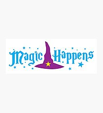 Magic Happens with witches hat Photographic Print