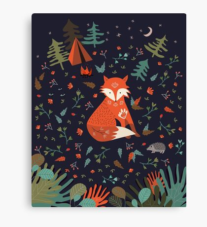Camping With Fox Canvas Print