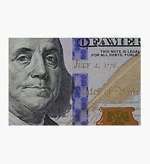 Franklin portrait on banknote Photographic Print