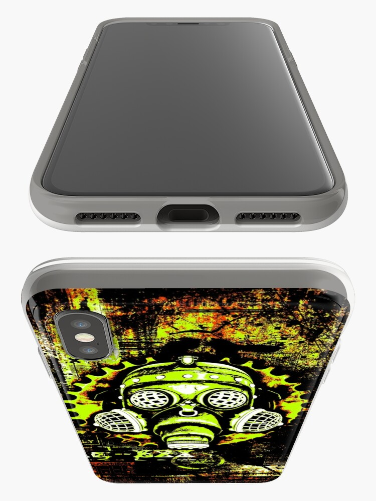 Alternate view of Steampunk / Cyberpunk Gas Mask Posterized Version iPhone Case & Cover