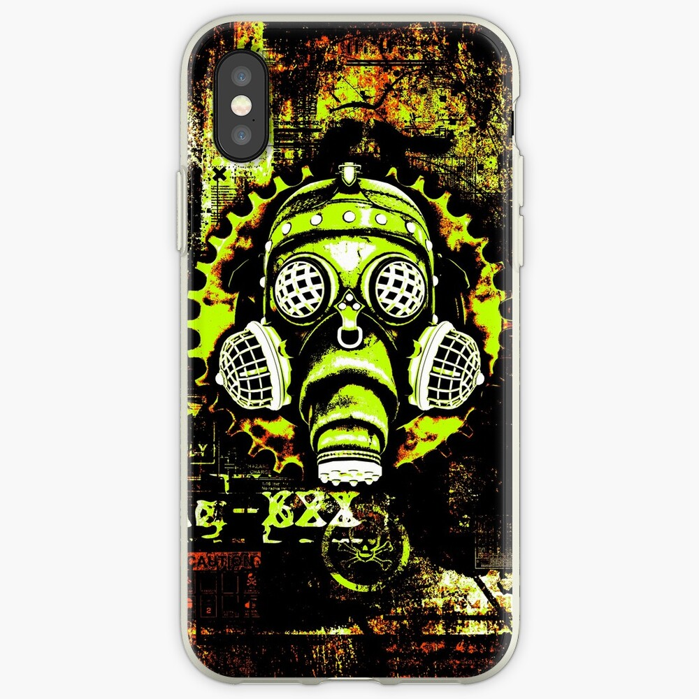 Steampunk / Cyberpunk Gas Mask Posterized Version iPhone Case & Cover
