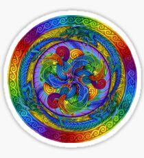 Epiphany Psychedelic Dragons Rainbow Mandala Sticker