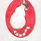 Haruki Murakami's Kafka on the Shore // Illustration of a Siamese Cat with a Fish in her Mouth in Pencil and Watercolour by arosecast