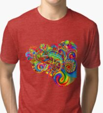 Psychedelizard Psychedelic Chameleon Colorful Rainbow Lizard Tri-blend T-Shirt