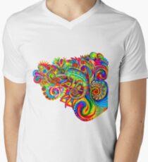 Psychedelizard Psychedelic Chameleon Bunte Regenbogen-Eidechse T-Shirt mit V-Ausschnitt