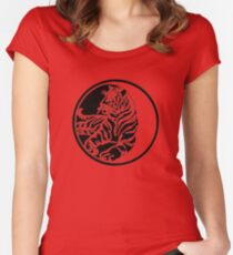 Tiger Silhouette In Tribal Tattoo Style Women's Fitted Scoop T-Shirt
