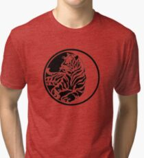 Tiger Silhouette In Tribal Tattoo Style Tri-blend T-Shirt