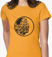 Tiger Silhouette In Tribal Tattoo Style Women's Fitted T-Shirt