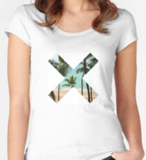 X Palm Tree Beach Women's Fitted Scoop T-Shirt