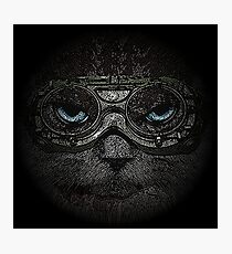 Sulky Steampunk Cat with Goggles and Attitude Photographic Print