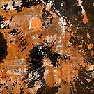 Rusting Darkness - Abstract in gold, black and white by Printpix