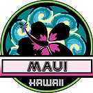 MAUI Hawaii Hibiscus Flower Wave Travel Vacation Decal Pink Green by MyHandmadeSigns